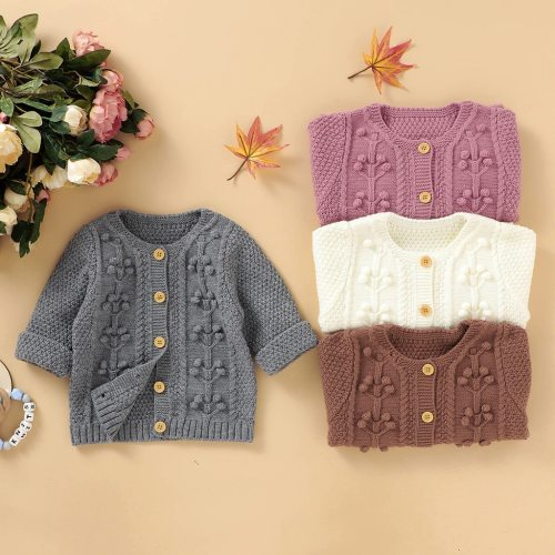 Autumn Newborn Infant Baby Winter Jacket Warm Button Coat Knit Outwear Sweater