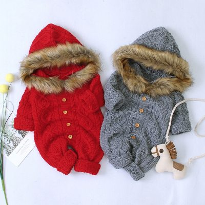 Autumn Winter Warm Coat For Baby Boys Girls Rompers Baby Hooded Knit Romper Infant Jumpsuit
