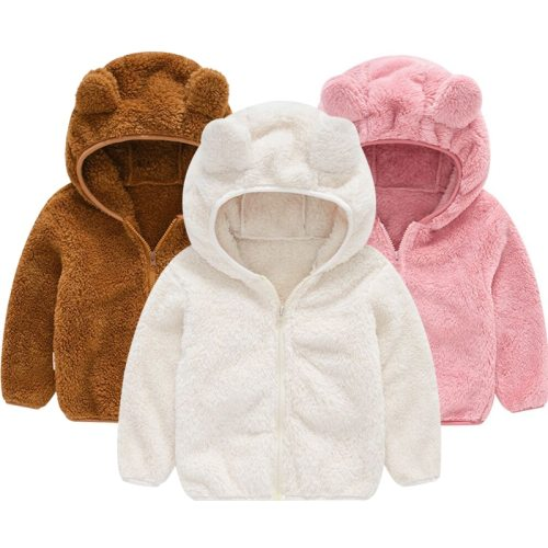 Cute Baby Fleece Children's Hoodie Jacket Baby Ear Coat