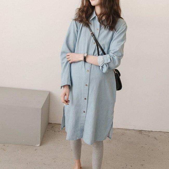 Spring and autumn maternity jacket denim shirts cotton loose long jacket pregnant jackets coat plus size women's denim shirts
