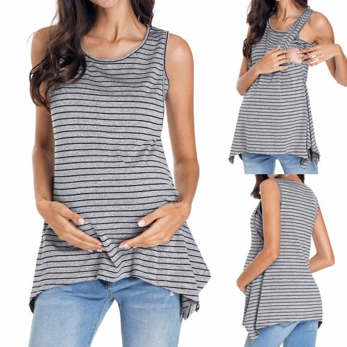 Fashion Summer Maternity Clothes For Pregnant Women Pregnant Stripe Maternity Clothes Nursing Breastfeeding Vest Top Blouse