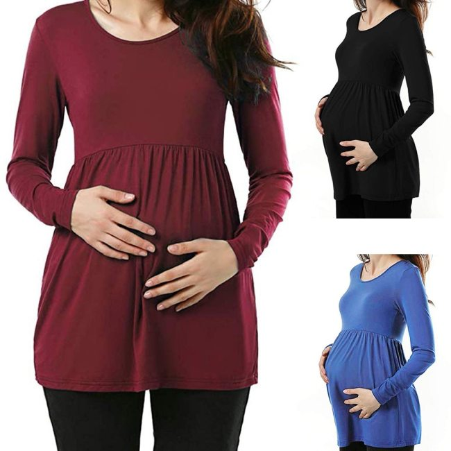 Casual Womens Pregnant Maternity Clothes Nursing Tops  Women Maternity Pregnancy Shirt Ruched Solid Tops Maternity Shirt Clothes