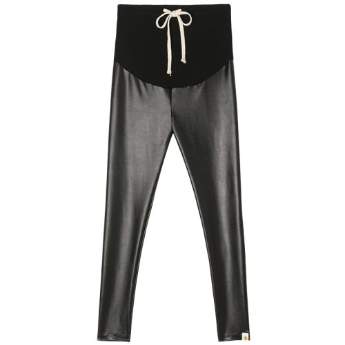 Drawstring High Waist Belly Lift Pants For Pregnant Women Fashion Black Leather Trousers
