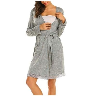 Maternity Clothes Women Pregnant  Breastfeeding Solid  Pajamas