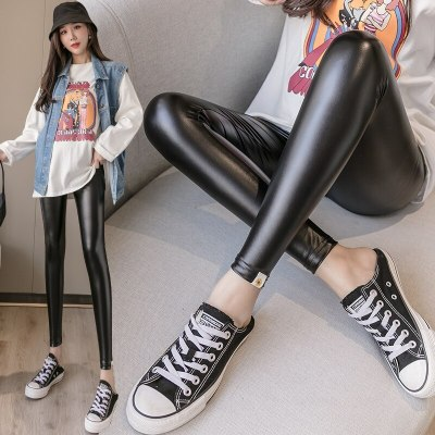 2020 Autumn Drawstring High Waist Belly Lift Pants For Pregnant Women Fashion Black Leather Trousers Warm Leggings For Mom