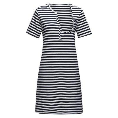 Pajamas Pregnancy Maternity Women Breastfeeding Striped Sleepwear Dress
