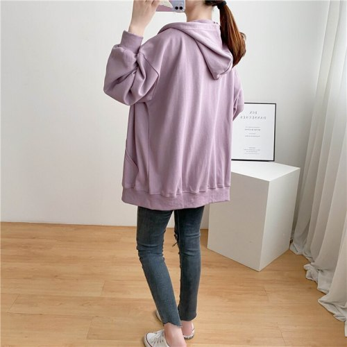 Large Size Solid Color LOOPED Hooded Kangaroo Coat Pure Cotton Jacket For Pregnant Winter Clothes Women Maternity Clothes