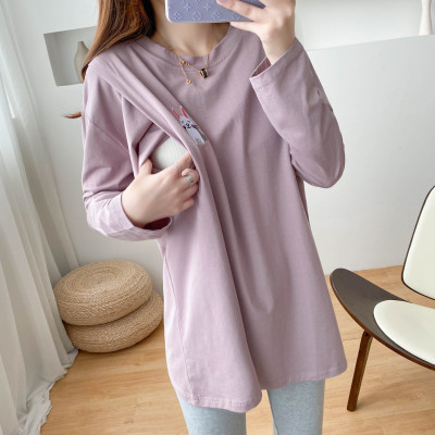 Rabbit Embroidery Breastfeeding Clothes For Women Auyumn Lavender Long Sleeve Tshirt Cotton Pregnancy Clothes Factory Direct