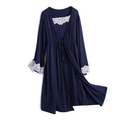 2pcs/set Pregnancy Pajamas Sleepwear Nursing Pregnant Woman Sling Breastfeeding Nightgown Maternity Labor Dress+Robe Childbirth
