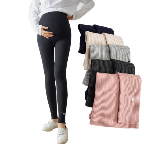 Maternity Pants With Belt Embroidery Knit Cotton high waist Leggings