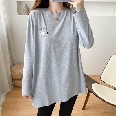 Cow Embroidery Gray Long Sleeve Feeding Shirt Early Autumn Clothes For Nursing Mothers Breastfeeding Clothes Women'sClothing