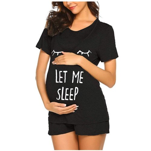 Pajamas For Pregnant Maternity Mom Short Sleeve Nursing T-shirt Tops+Adjustable Shorts Set