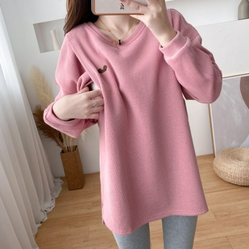 Embroidered Sweater Winter Nursing Clothes woman Pullover Postpartum Warm Jacket For Pregnant Maternity Clothes  9115