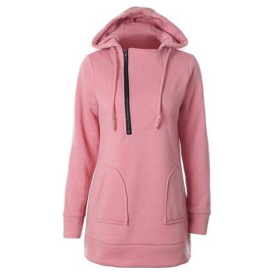 Women Hoodies Sweatshirts Pink Zipper Cap Pocket Sweatshirt