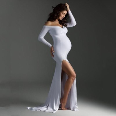 Sexy Shoulderless Maternity Dress Photography Props Split Side Maxi Gown For Pregnant Women Long Pregnancy Photo Shoots Clothes