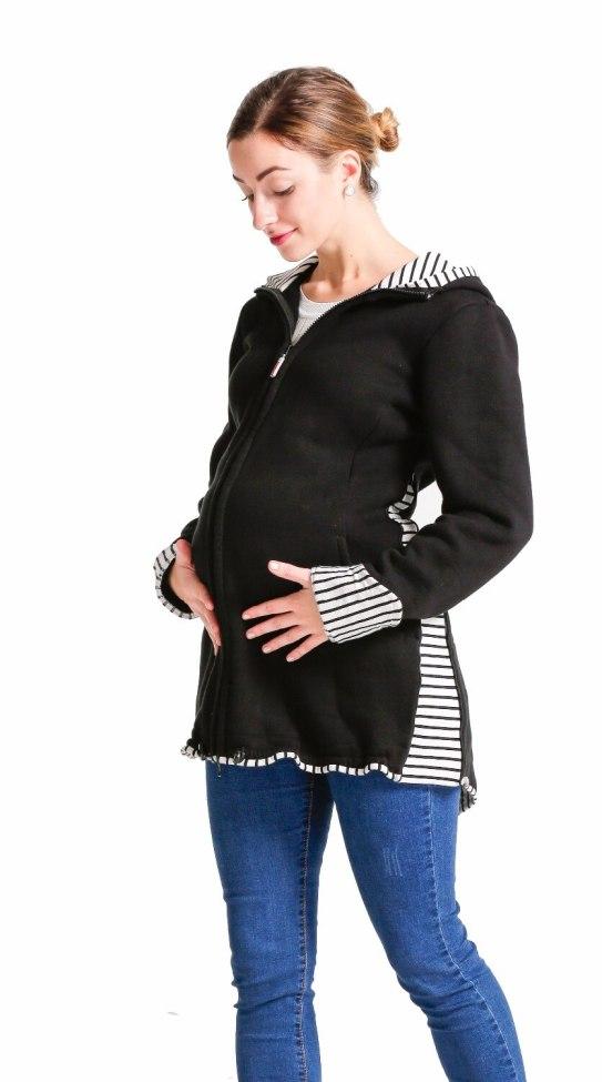 Babywearing coat baby carrier jacket pregnancy apparel maternity sweatshirt material black stripes Mom baby jacket