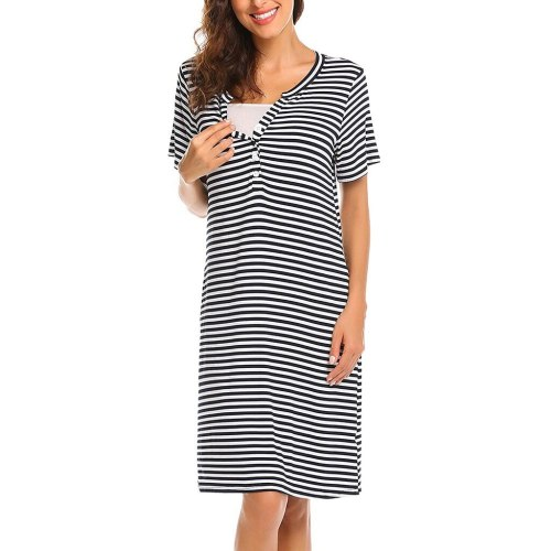 Pajamas Pregnancy Maternity Women Breastfeeding Striped Sleepwear Dress
