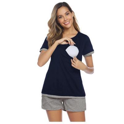Pajamas For Pregnant Maternity Mom Short Sleeve Nursing T-shirt Tops+Adjustable Shorts Set