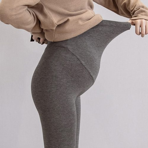 Solid Color Maternity Pants Knitted Cotton Adjustable Ankle-Length Leggings Plus Size Clothes