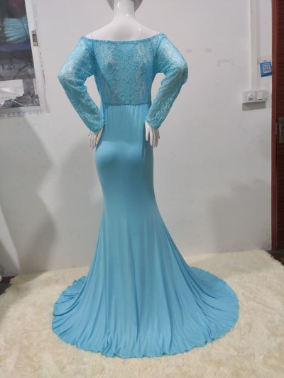Pregnancy Sexy Lace V Neck Long Sleeve Maternity Dress Photo Shoot Maxi Gown  Prop
