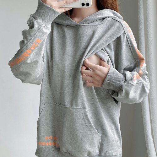 Pullover Pure Cotton Lactation Hoodie Side Opening Mouth For Nursing Mothers Maternity Wear Pregnant Clothes Breastfeeding