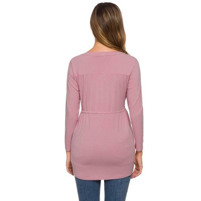 Clothes For Pregnant Women Blouse Ropa De Mujer Women Maternity Long Sleeve Solid Color Nursing Tops T-shirt For Breastfeeding