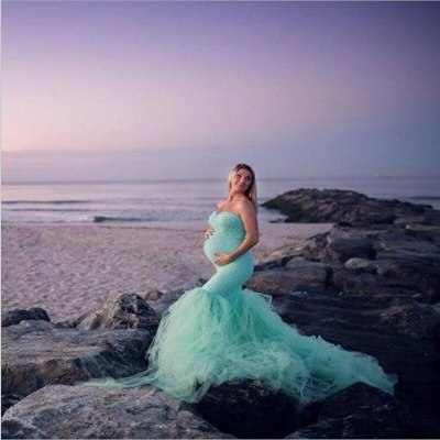 Maternity Photography Props Dresses Lace Mesh Pregnancy Dress Photo Shoot Maxi Gown Pregnant Women Sexy Shoulderless Clothing