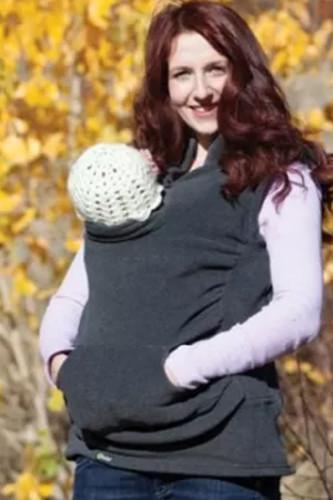 Maternity Kangaroo Pouch Hoodies Winter Sleeveless Sweater Vest Baby Carrier Jacket Kangaroo Maternity Cotton Outerwear