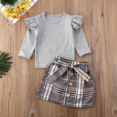 2020 Toddler Girl Fashion 2PCS Outfit Suit Spring Auutmn Long Sleeve Tops Plaid Dress Kids Baby Sweet Clothes Set Warm 2020