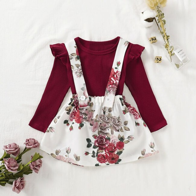 2PCS NEW Newborn Infant Baby Kids Girl Clothes Cotton Long Sleeve Ruffle Tops Floral Flower Skirt Sweet Outfit Costume