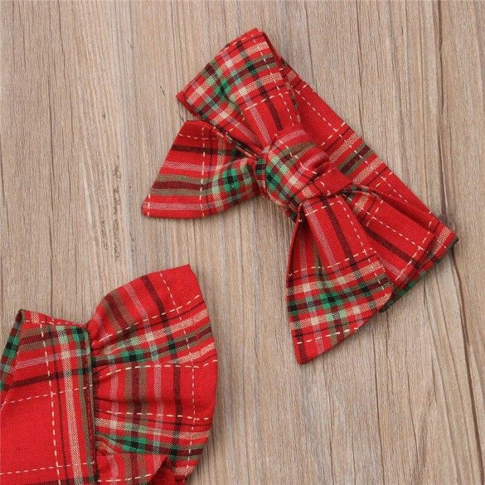New Newborn Baby Girls Bodysuit Red Plaid Cotton Xmas Christmas Sleeveless Backless Clothes Ruffle Bodysuits Bow Headband