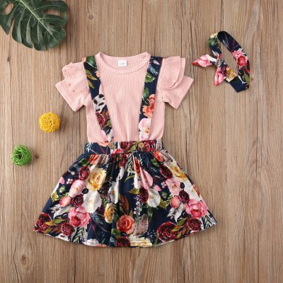 Summer Toddler Infant Baby Girl Outfit Set Sweet Tracksuit 3PCS Ruffle Sleeve Top Floral Print Skirt Headband Costume