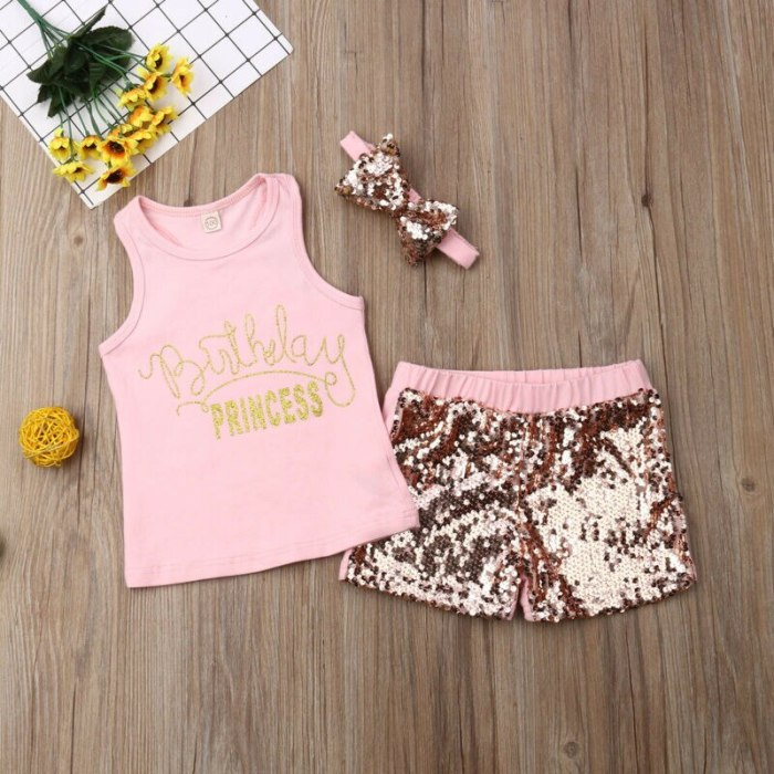 Toddler Kid Child Baby Girl Summer Sleeveless O-Neck Vest Top Sequin Shorts Headband 3Pcs Clothes Set Costume Clothing Outfits
