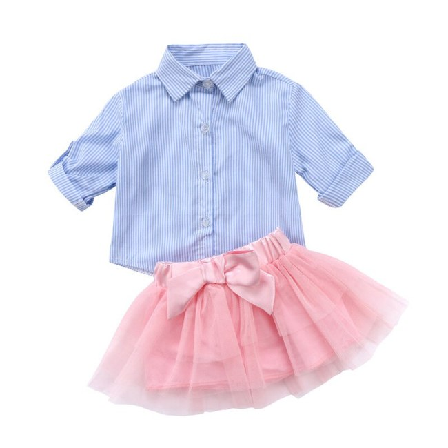 Toddler Kid Baby Girls Clothes Set Autumn Long Sleeve Blouse Top Lace Tutu Pink Bow Skirt Girl Clothing Cute Outfits 2PCs