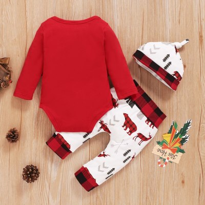 3Pcs Infant Baby Girls Long Sleeve T-Shirts Tops Animals Pants Hats Clothes Outfit Sets