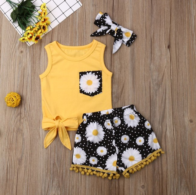 Summer Sleeveless Yellow Tops Kids Baby Girl Clothes Set 2019 Toddler Infant T-shirt Floral Shorts Headband 3PCS Outfits Sunsuit