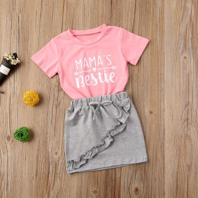 Summer Toddler Baby Girls Letter Print Short Sleeve T-shirt Top Lace Ruffle Skirt Set Casual Round Collar 2PCS Outfit