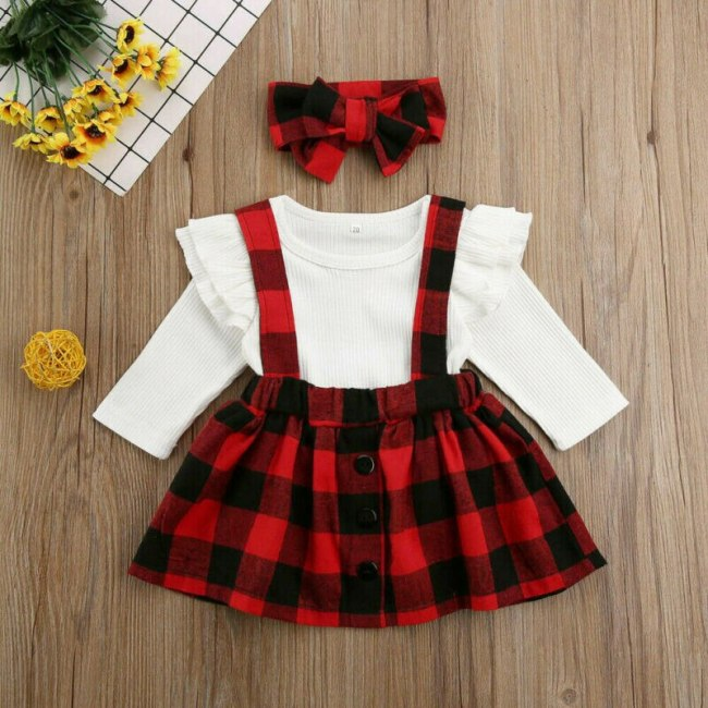 3PCS Christmas Newborn Baby Girl Clothes Knitted Cotton Long Sleeve Tops Romper Plaids Bib Skirt Headwear Headdress Outfits