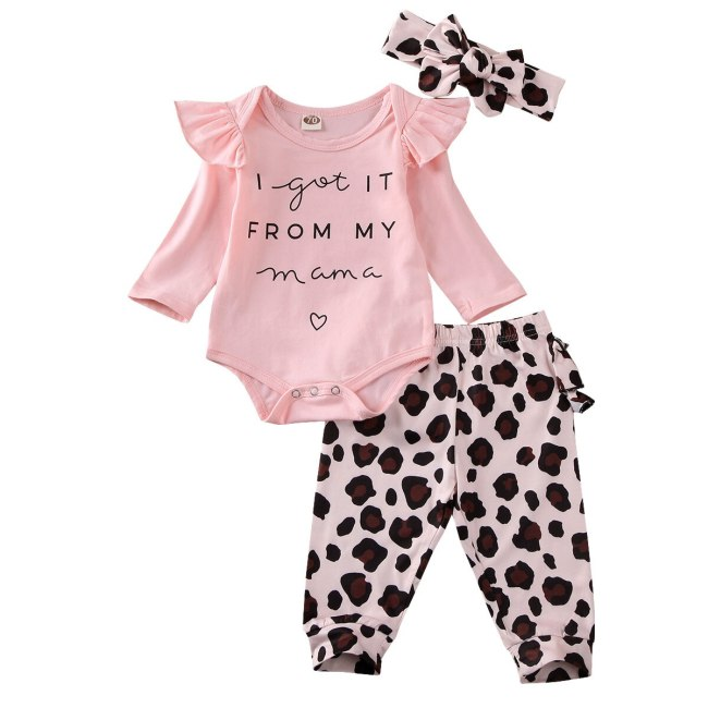 Toddler Newborn Infant Baby Girl Clothes Set Ruffle Long Sleeve Letter Pink Bodysuit Leopard Pants Clothing Costume Outfit