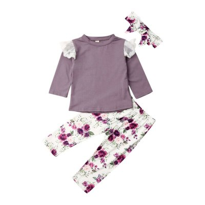 Toddler Kid Child Baby Girl Autumn Floral Long Sleeve Lace Top Pants Headband 3Pcs Clothes Set Costume Clothing Outfit 1-4Y