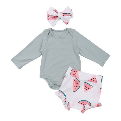 Summer Infants Baby Girl Romper Shorts 3pcs Suit Watermelon Printed O-Neck Long Sleeve Romper+Casual Shorts+Headband