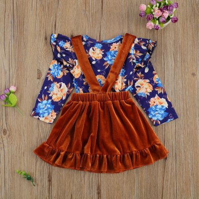 Baby Infant Girl 2PCS Dress Set Lace Long Sleeve Flower Print Top Solid Color Suspenders Button Short Skirt Spring Fall Fashion