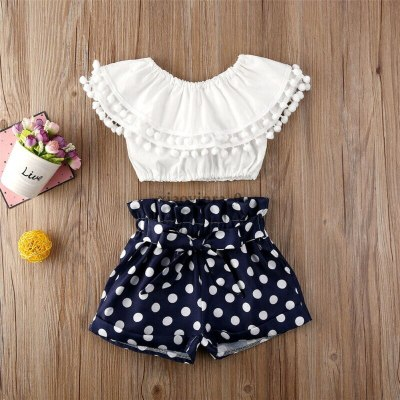Summer 2PCS Toddler Baby Girls Clothes Sleeveless Top Dot Short Outfit Clothing Costume