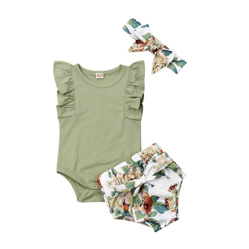 Children Toddler Newborn Infant Girls Clothes Set Ruffle Sleeveless Bodysuit Green Floral Shorts Headband Clothing 3PCs