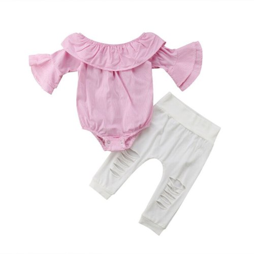 Toddler Newborn Infant Kid Baby Girls Clothes Set Off Shoulder Striped Bodysuit Tops Ripped Pants Outfits Clothing 2PCs 0-24M