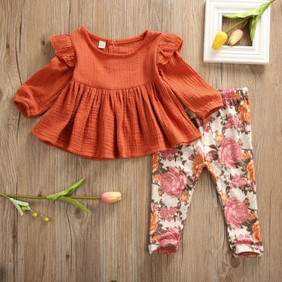 Newborn Kid Baby Girl Clothes Set Autumn Ruffle Long Sleeve Tops Floral Pants Clothing Tracksuit Cotton Outfits 2PCs