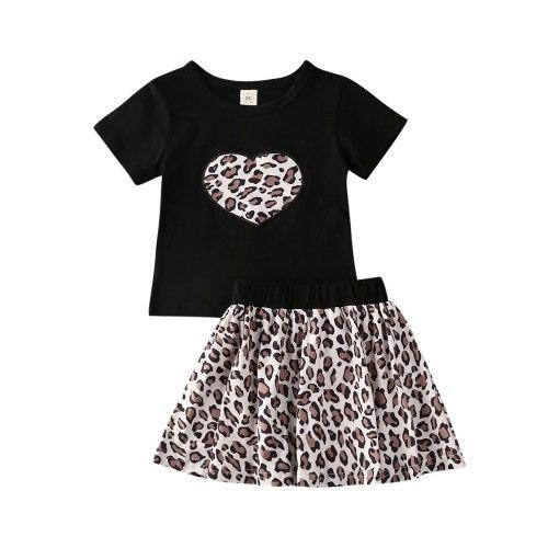 Summer Toddler Valentine's Day Infant Kids Girl Clothes Set Heart Leopard Short Sleeve Round Neck T-shirt Skirt Clothing 2PCs