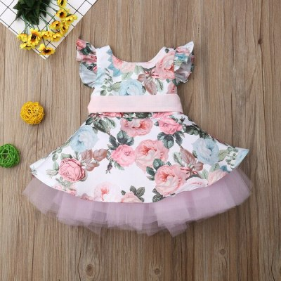 New Fashion Baby Girl Dress 6M-4Y US Cute Kids Baby Girls Dress Lace Floral Party Dress Sleeveless Dress Clothes