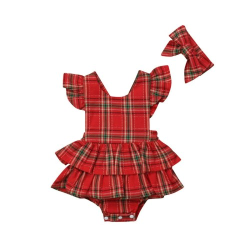 New Newborn Baby Girls Bodysuit Red Plaid Cotton Xmas Christmas Sleeveless Backless Clothes Ruffle Bodysuits Bow Headband