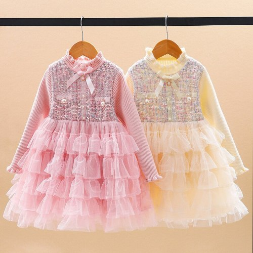 Toddler Girl Winter Clothes Baby Christmas Dress Kids Clothing Knitting Dress For Girls Pink Lolita Dress Girls Designer Clothes